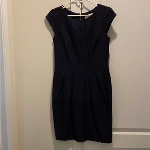 Navy and black lace dress